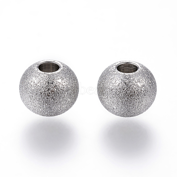 304 Stainless Steel Textured Beads, Round, Stainless Steel Color, 8x7mm, Hole: 3mm(X-STAS-P108-05P)