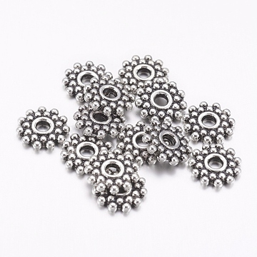 Gear Tibetan Silver Spacer Beads, Lead Free & Nickel Free & Cadmium Free, Antique Silver, about 9mm in diameter, Hole: 2.5mm(X-AA119-NF)