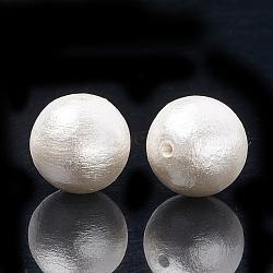 perles de coton japonaises comprimées, écologique, teints, arrondir, blanc crème, 6 mm, trou: 1.2 mm(X-WOVE-S114-6mm-13)