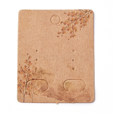 Paper Jewelry Display Cards, for Hanging Earring Display, Rectangle with Tree, BurlyWood, 50x40x0.3mm, Hole: 5.3mm(CDIS-G002-07B-08)