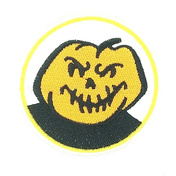 Halloween Computerized Embroidery Cloth Iron On Patches, Costume Accessories, Appliques, Pumpkin, Gold, 71mm(X-DIY-L003-003)