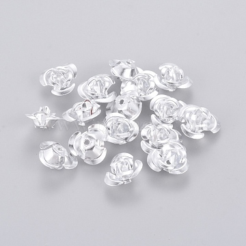 Aluminum Rose Flower, Tiny Metal Beads, Silver, 12x7mm, Hole: 1mm; about 920~950pcs/bag(AF12mm001Y)