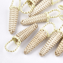 Handmade Reed Cane/Rattan Woven Pendants, For Making Straw Earrings and Necklaces, Basket, LemonChiffon, 45~60x10~15mm(X-WOVE-T006-101A)
