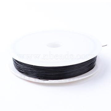Elastic Crystal Thread, For Jewelry Making, Black, 0.5mm; about 10m/roll, 10rolls/group(CT-R001-0.5mm-04)