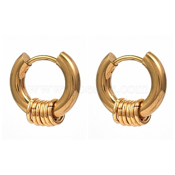 Vacuum Plating 304 Stainless Steel Huggie Hoop Earrings, Hypoallergenic Earrings, with 316 Surgical Stainless Steel Pin, Ring, Golden, 15x14.5x5mm, Pin: 1mm(X-EJEW-JE04192-01)