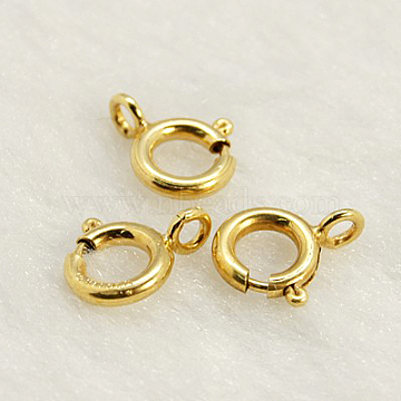 Yellow Gold Filled Spring Ring Clasps, 1/20 14K Gold Filled, Cadmium Free & Nickel Free & Lead Free, 8mm, Hole: 2mm(KK-G163-8mm-1)