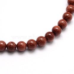 "Goldstone synthétique perles rondes brins, 8mm, trou: 1mm; environ 48 pcs/chapelet, 15.5""(G-O047-03-8mm)"