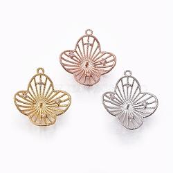 Pendentifs en laiton, avec zircons, pour la moitié de perles percées, fleur, clair, couleur mixte, 23.5x20.5x5.5mm, trou: 1.2 mm; broches: 1 mm(KK-L177-08)