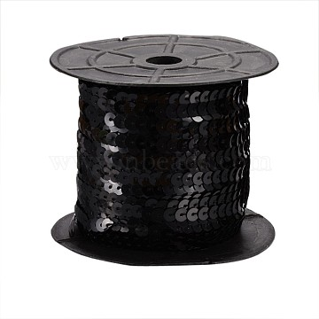 Black Paillette/Sequins Roll, about 6mm in diameter, 100 yards/roll(X-BS01Y)