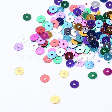 Ornament Accessories Plastic Paillette Beads, Sequins Beads, Disc, Mixed Color, 6x0.2mm, Hole: 1mm, about 3000pcs/50g(X-PVC-R014-6mm-M)