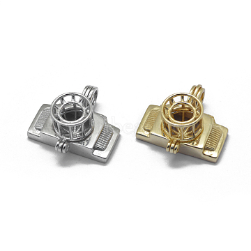 925 Sterling Silver Cage Pendants, Camera, Mixed Color, 19.5x20x10.5mm, Hole: 4x3mm; Inner Diameter: 8mm(STER-L055-048-M)