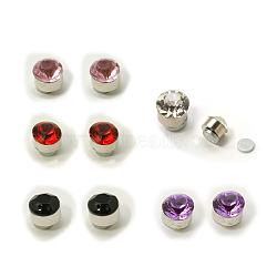 acier inoxydable magnétiques boucles d'oreilles avec strass, plat rond, couleur mélangée, sur 5 mm de diamètre, 5 mm d'épaisseur, 12 paires / conseil(EJEW-I054B-M)