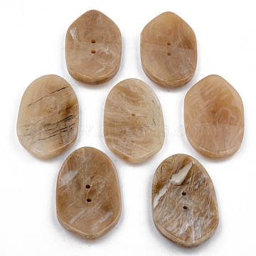 2-Hole Cellulose Acetate(Resin) Buttons, Oval, Tan, 49x29.5x5mm, Hole: 2mm(BUTT-S026-020)